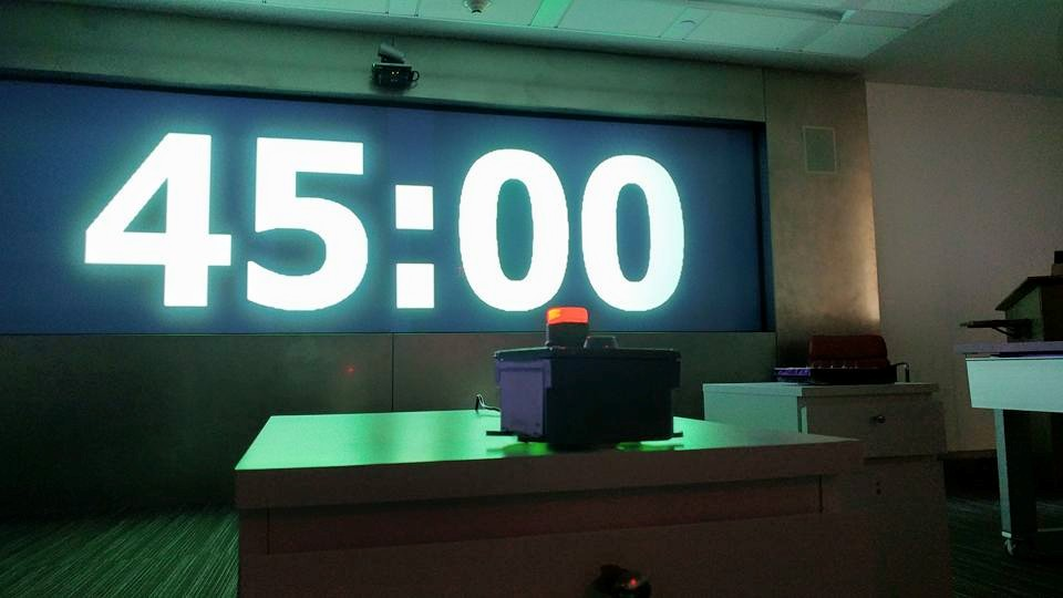 Escape Room conference countdown timer with keyswitch