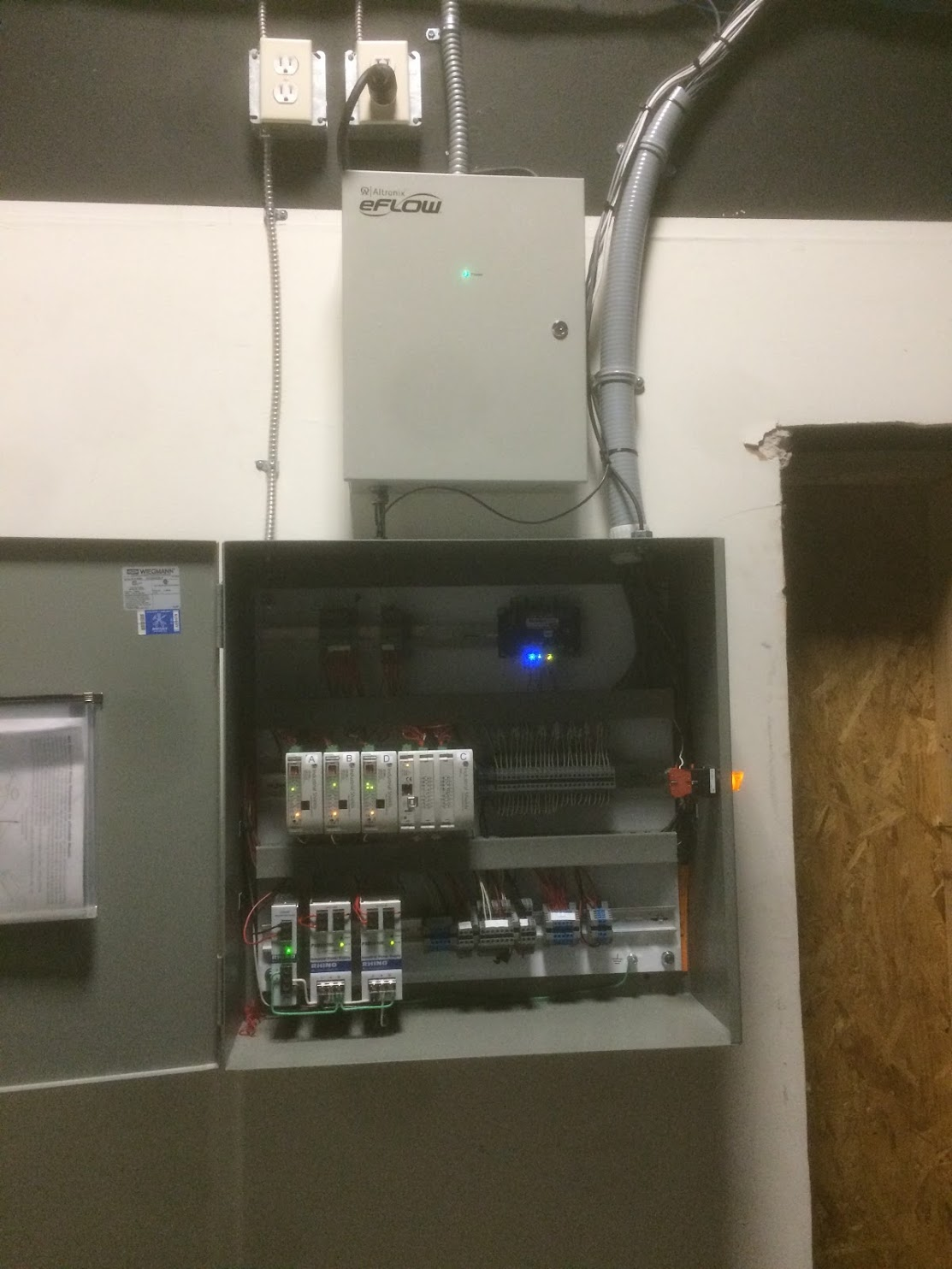 PLC control system and Access power controller inside an escape room